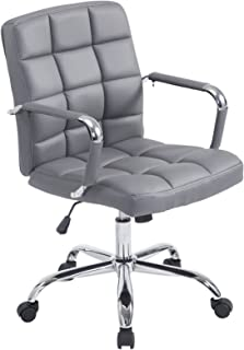 Poly and Bark Manchester Mid-Century Modern Office Chair, Adjustable Height, Tilt and 360 Swiwel, Aluminum Base, Chrome Coated Frame, Soft Vegan Leather in Grey