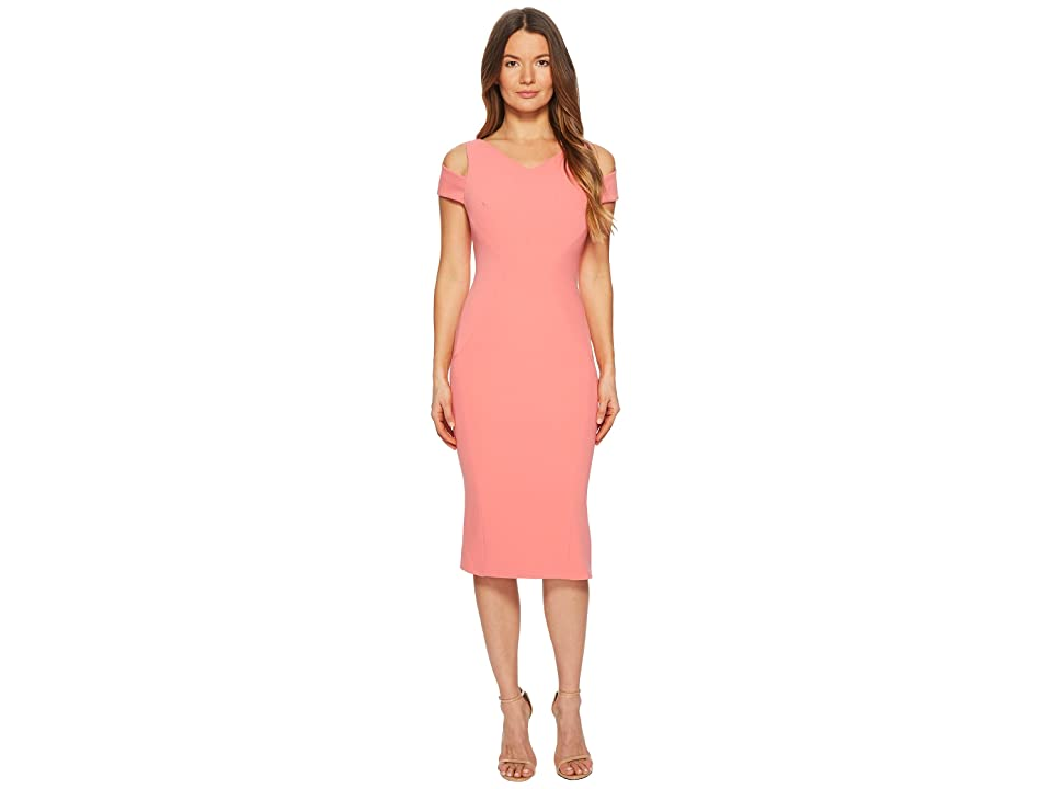 Zac Posen Bonded Crepe Cold Shoulder Cocktail Dress (Peony) Women