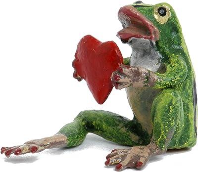 Mini Frog with Heart Vienna Bronze Figurine