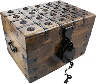 Treasure Chest Box Pirate Large 11 x 8 x 7 Wooden Locking Party Toy Nautical Accessory with Skeleton Key by Well Pack Box
