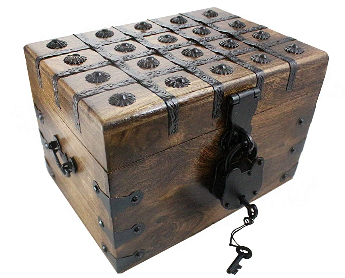 """Treasure Chest Box Pirate Large 12"""" x 8"""" x 7"""" Wooden Locking Party Toy Nautical Accessory with Skeleton Key for Kids by Well Pack Box"""