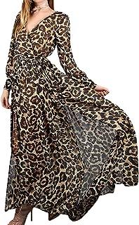 9b87fd85db4d2 HhGold Robe pour Femme Printemps Automne Élégante Mousseline De Soie Ling  Manche Robe Maxi (coloré