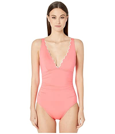 Kate Spade New York Contrast Scalloped Plunge One-Piece (Bright Peony) Women
