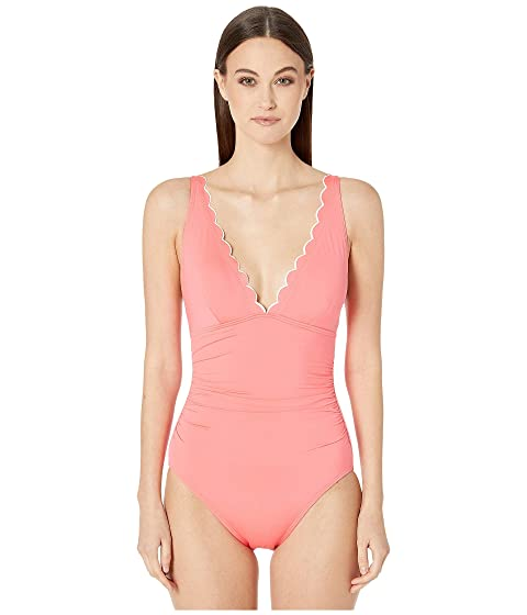 Kate Spade New York Contrast Scalloped Plunge One-Piece