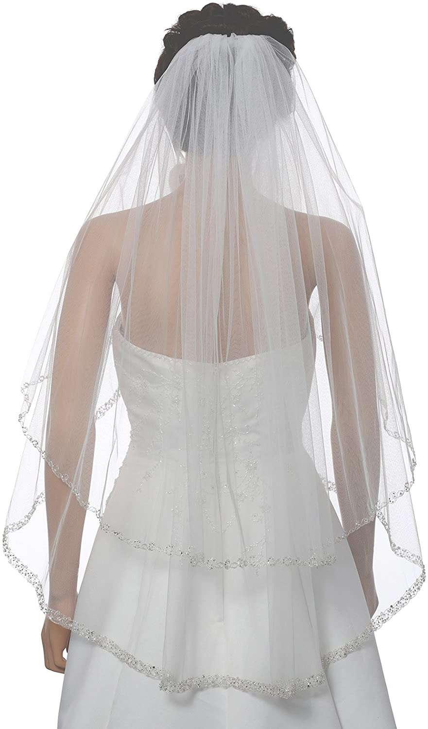 2T 2 Tier Dual Edge Embroided Pearl Crystal Beaded Veil Fingertip Length 36