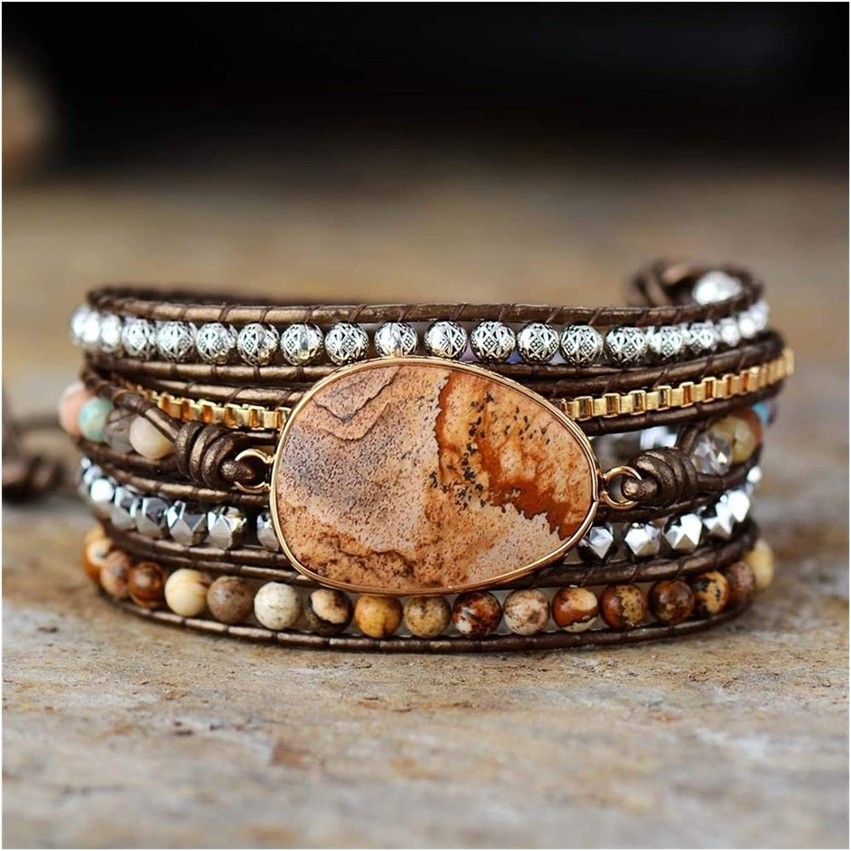 AOSUAI 5 Strand Leather Our shop most popular Wrap B Semiprecious Stone Chain Regular dealer Bracelet