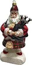 Pinnacle Peak Trading Company Scottish Santa in Kilt with Bagpipes Polish Glass Christmas Tree Ornament