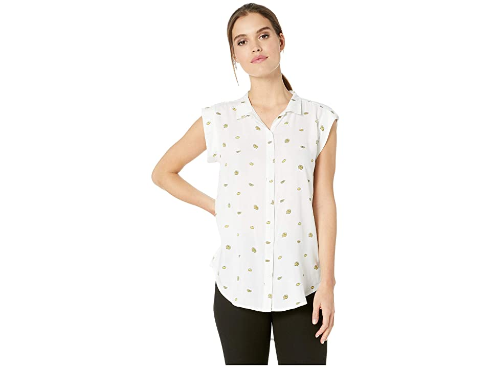 Per Se Cap Sleeve High-Low Button Down Shirt (White Lemon) Women's Clothing