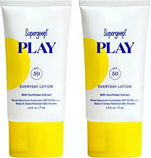 Supergoop! PLAY Everyday SPF 50 Lotion, 2.4 fl oz - 2 Pack - Reef-Safe, Broad Spectrum Sunscreen for Sensitive Skin - Wate...