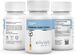 Alivia Blends Hemp Extract Vegan Gummies (750mg), 25mg ea Gummy. Promotes Anxiety Relief, Stress Relief, Mood Support.