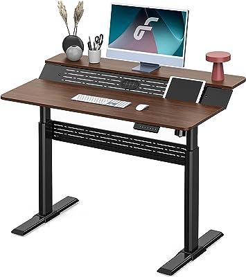 Fenge 電動昇降デスク スタンディングデスク パソコンデスク 無段階高さ調整 2段式天板 テレワーク 配線穴付き 幅120㎝ ED-S48201WP