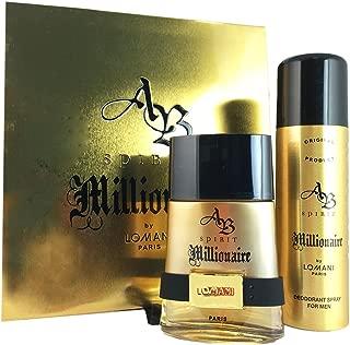 Ab Spirit Millionaire = 2 piece giftset for Men - EDT Spray 3.3 Fl. Oz. + Deodorant Spray 6.6 oz.