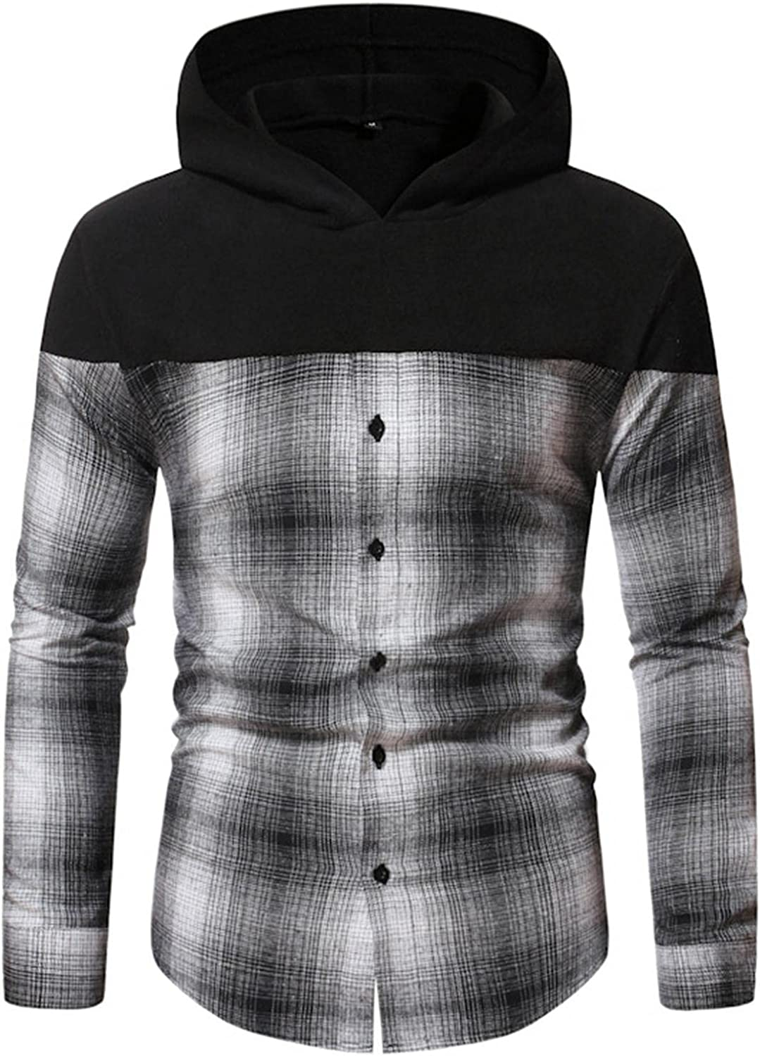 Aayomet Hoodies Sweatshirts for Men Color Block Checked Button Casual Long Sleeve Hooded Pullover Tops Blouses Sweaters
