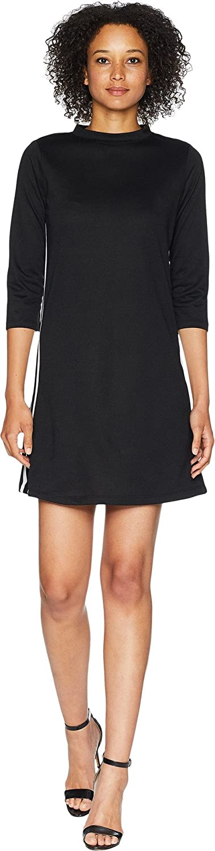 American pink Women's Simone Mock Neck French Terry Dress Stripes Black White Large