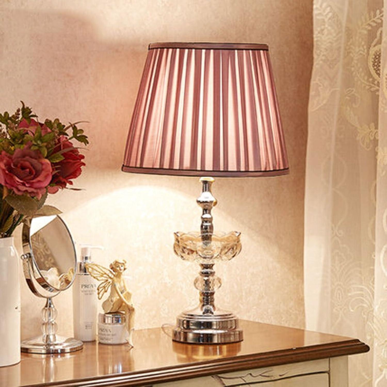 Schlafzimmer lampe nachttischlampe einfache moderne lampe wohnzimmer lampe lernen lampe chrom messing Kristall Tischleuchte Messing Chrom (Farbe   Chrome-30  54cm)