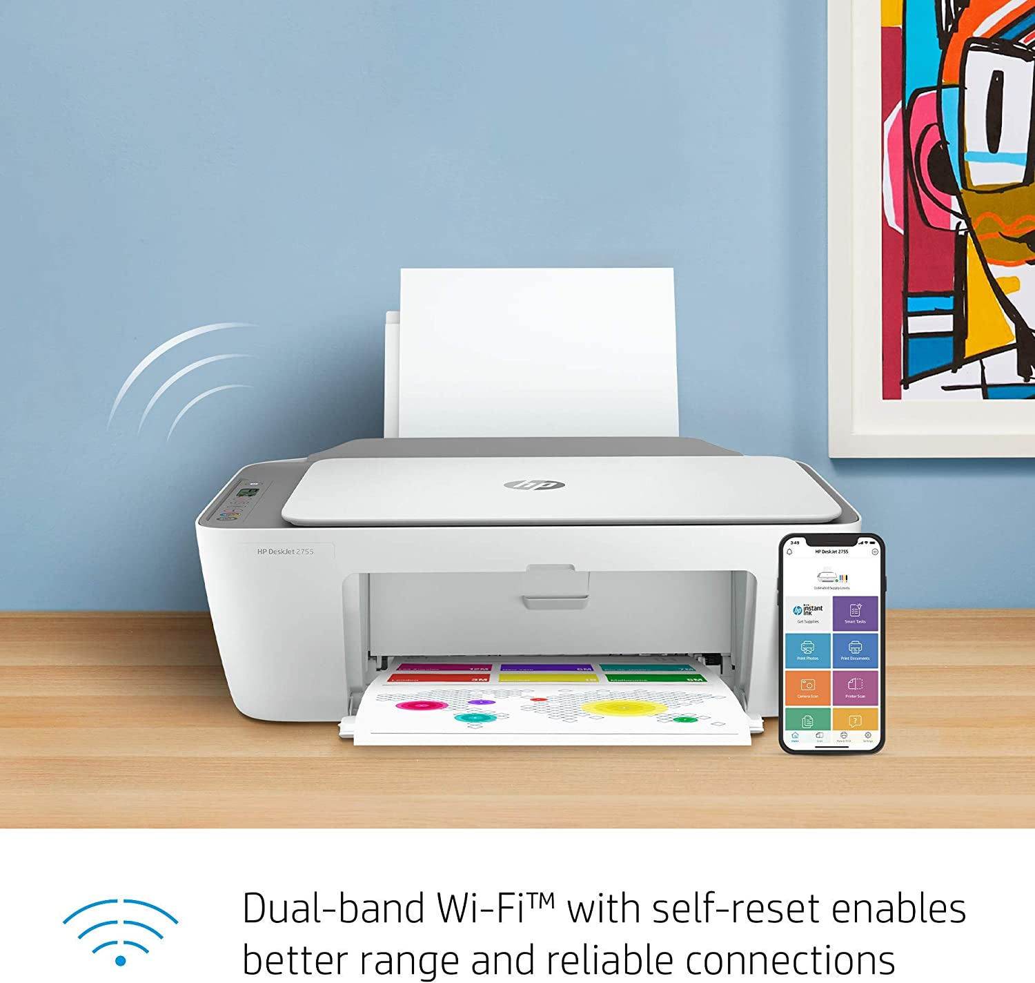 HP DeskJet 2755 Wireless All-in-One Printer   Mobile Print, Scan & Copy   HP Instant Ink Ready (3XV17A) (Renewed)
