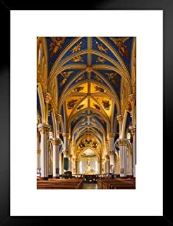 Poster Foundry Interior Basilica of The Sacred Heart Notre Dame Photo Art Print Matted Framed Wall Art 20x26 inch