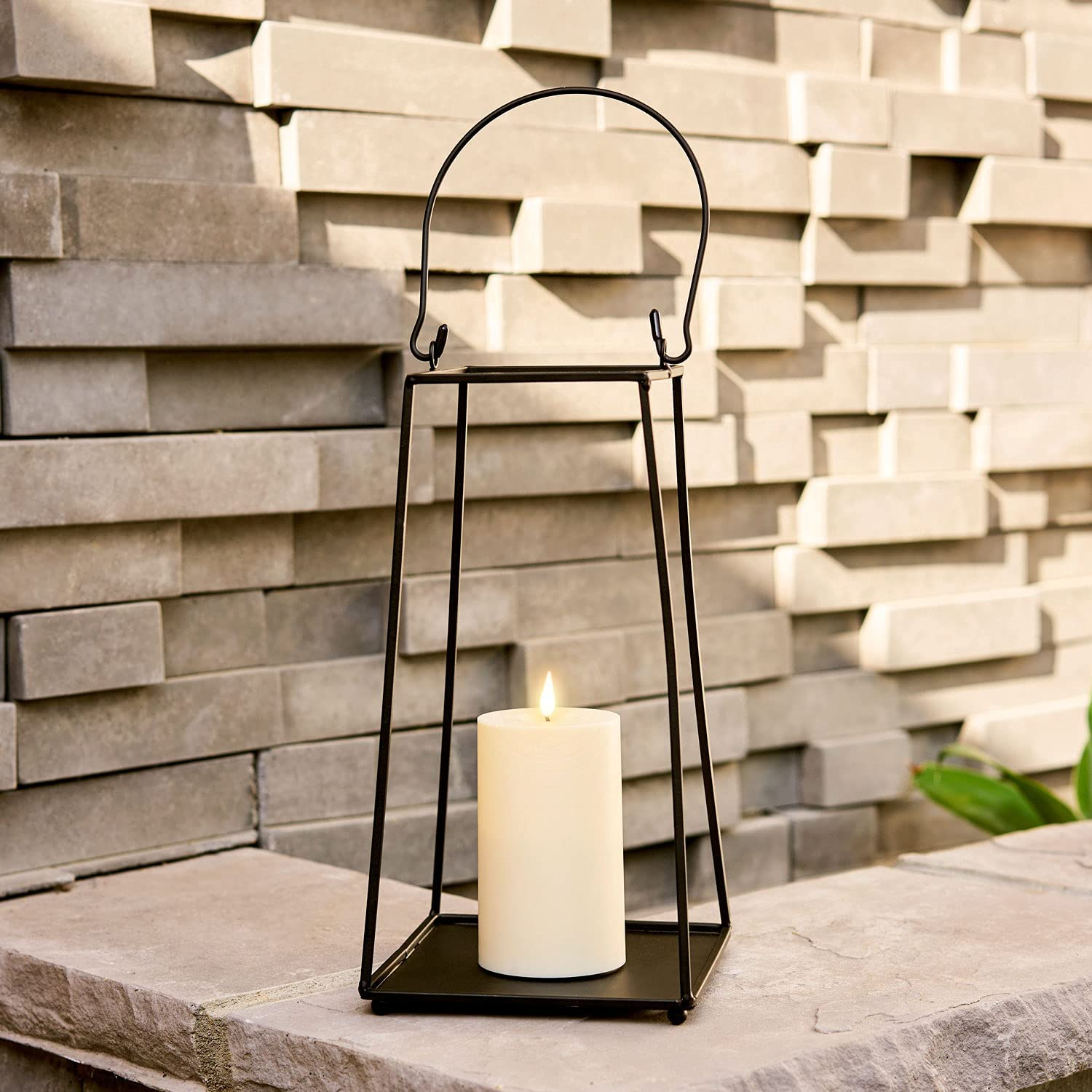 Black Metal Candle Lantern - 12 Inch Decorative Lantern with Realistic Flameless Candle, Battery Operated, Flickering LED Light, Open (No Glass) Waterproof for Outdoor Porch or Patio Decor