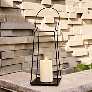 Black Metal Candle Lantern - 12 Inch Decorative Lantern with Realistic Flameless Candle, Battery Operated, Flickering LED ...