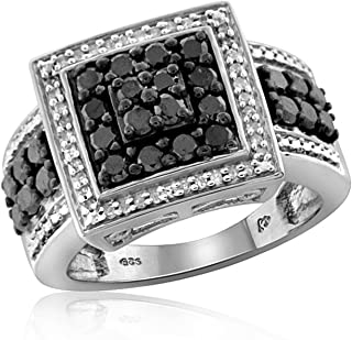 1.00 Carat T.W. Black and White Diamond Square Shape Sterling Silver Ring