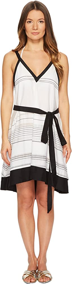 Striped Thin Belted Cover-Up Sundress