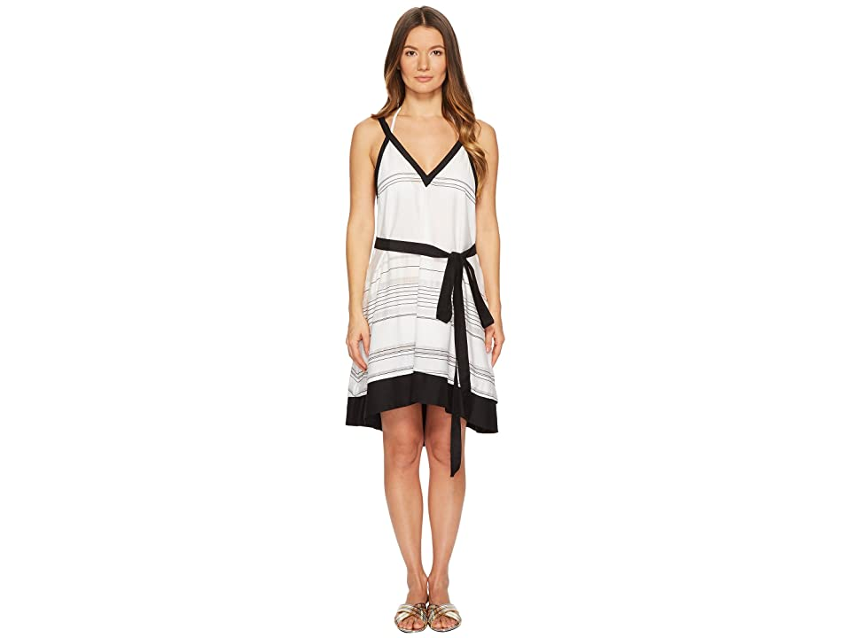 Proenza Schouler Striped Thin Belted Cover-Up Sundress (Black/White) Women