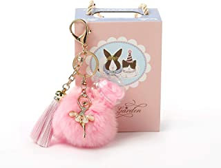 Keychain Women Girls Keyring with Pink Rose Flower Dancing Doll Tassels Hanging Pendant Handbag Decor Wife Girlfriend Daug...