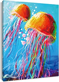 HVEST Jellyfish Canvas Wall Art Watercolor Under Sea Life Printing Artwork for Living Room Bedroom Bathroom Decor,Stretched and Framed Ready to Hang,16x20Inches