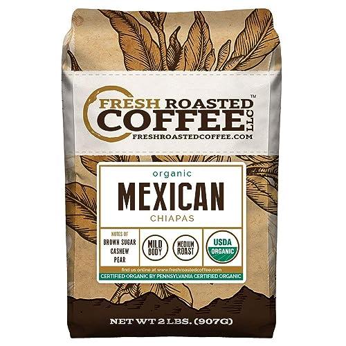 Fresh Roasted Coffee LLC, Organic Mexican Chiapas Coffee, USDA Organic, Medium Roast, Whole Bean, 2 Pound Bag