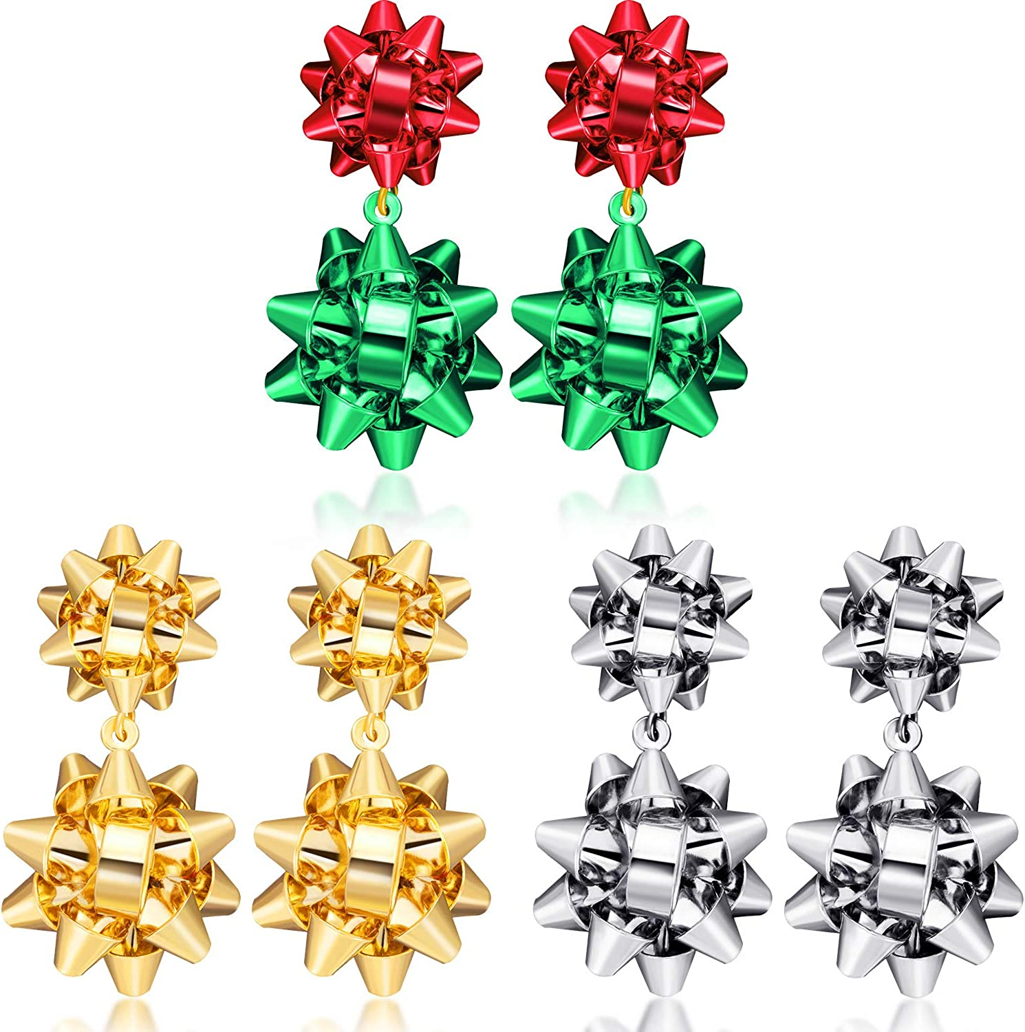 mart 3 Pairs Christmas Luxury goods Earrings Flower Cubic Dangle Bow