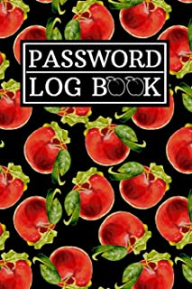Password Log Book: Internet Password Logbook w/ Cute Red and Pink Peaches Fruits Pattern on Black Cover