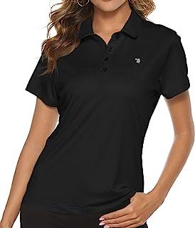 TBMPOY Women's Golf Polo T Shirts Lightweight Moisture Wicking Short Sleeve Shirt Quick Dry 4-Button Black S