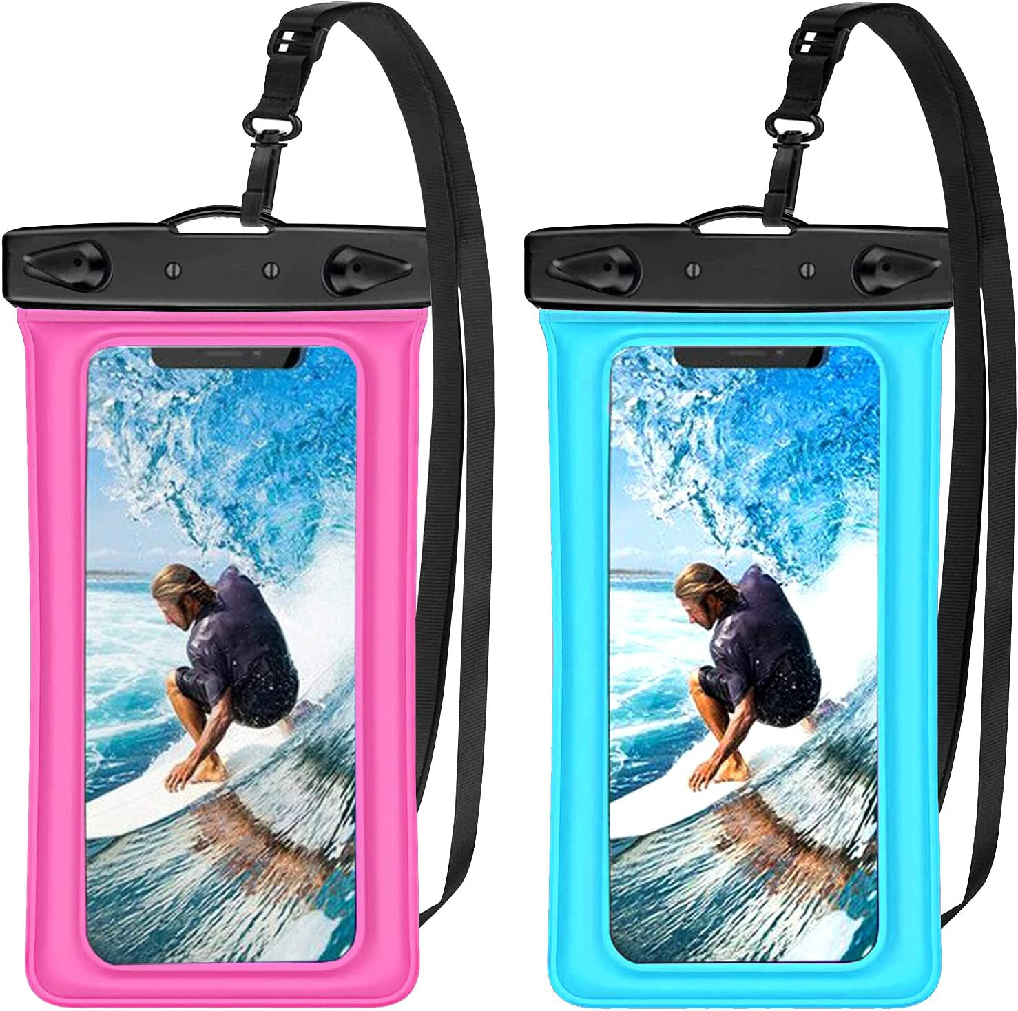 """Annymall Waterproof Phone Pouch 2 Pack, Universal Waterproof Cellphone Dry Bag with Lanyard Underwater Case for iPhone 12 Pro 11 Pro Max XR Xs Max 8/7 SE,Galaxy S20 FE S9 S7 UP to 7"""" (Blue+Pink)"""