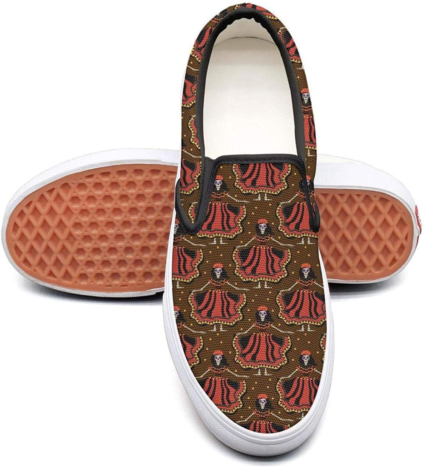 Brown Mexican colorful Skull Makeup Design Slip On Superior Comfort Loafers Canvas shoes Women Round Toe