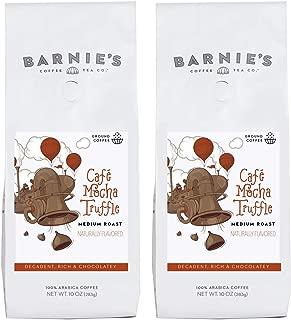 Barnie's Café Mocha Truffle Ground Coffee | Decadent and Rich Chocolate Coffee | Naturally Flavored | Sugar Free, Nut Free, Gluten Free, Fat Free | Medium Roasted Arabica Coffee Beans | 2-Pack