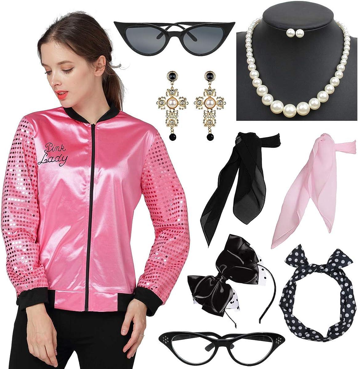 Women's 50s Retro Ranking Low price TOP14 Sequin Sleeve Pink Jacket Neck Costume Sc with