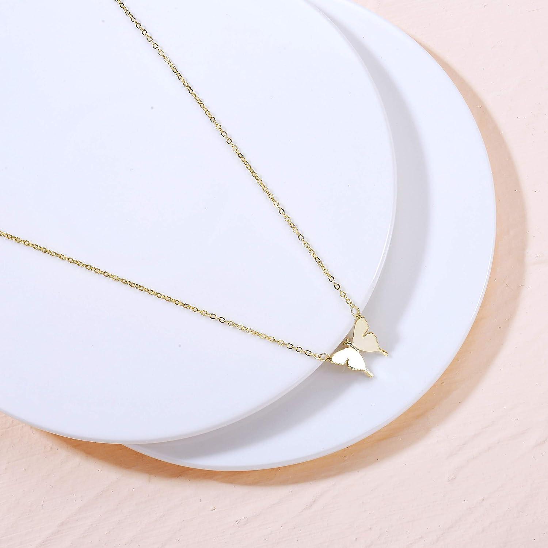 Viromy Gold Butterfly Pendant Necklace for Women 18K Gold filled Minimalist Cubic Zirconia Butterfly Pendant Cute Crystal Butterfly Necklaces for Women Girls
