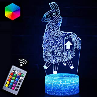 Llama Night Lights Fortress Battleroyale 3D Optical Illusion LED Lamps Nightstand Guidance for Kids Room Best Bday Xmax Gi...