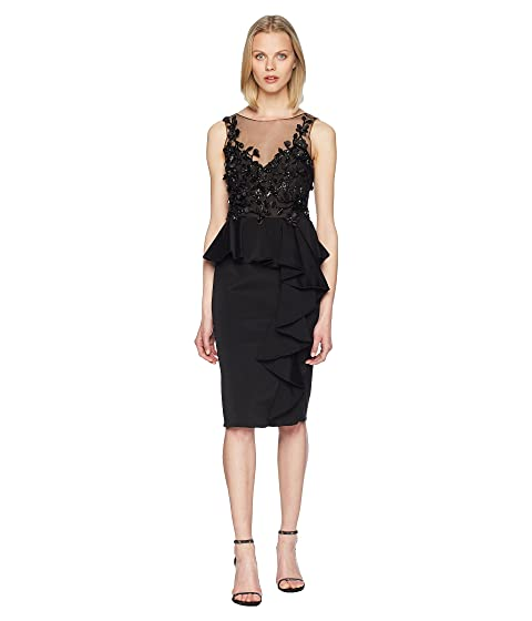 Marchesa Sleeveless Embroidered Stretch Faille Cocktail w/ 3D Beading and Ruffles
