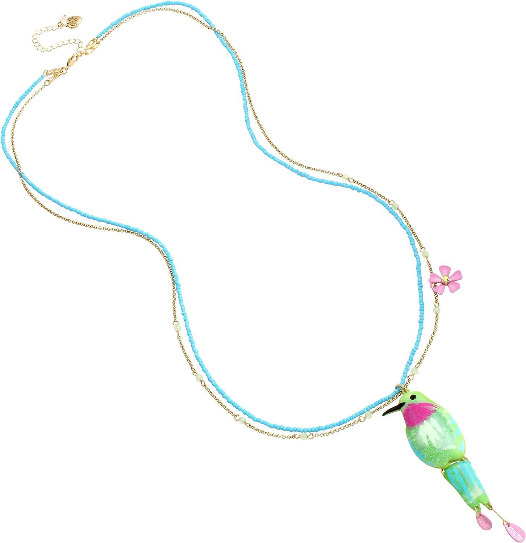 Betsey Johnson Hummingbird Long Pendant Necklace