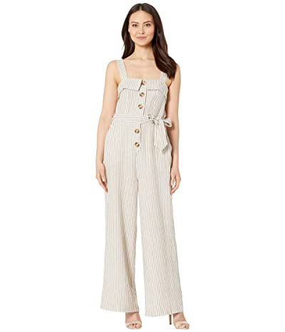Vince Camuto Sleeveless Natural Linen Stripe Tie Front Jumpsuit (Natural) Women