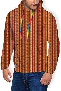 GULTMEE Men's Hoodies Sweatershirt, Folklore Geometric Motif with Rhombuses and Lines Ornamental Floral Design,5 Size