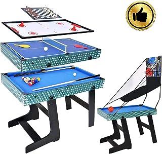 WIN.MAX Mesa de multijuegos 5 en 1, Canasta, Billar, ajedrez, Tenis de Mesa, Mesa de Hockey de Aire tamaño de la Competencia MDF Construcción Juego Divertido Trabajo Pesado