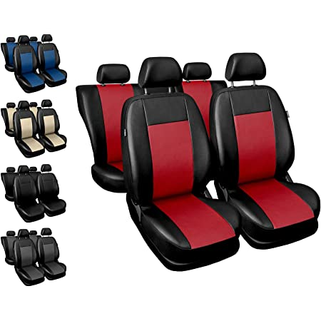 Carpendo Sitzbezüge Auto Set Autositzbezüge Schonbezüge Schwarz Rot Vordersitze Und Rücksitze Airbag Geeignet Sport Line Auto