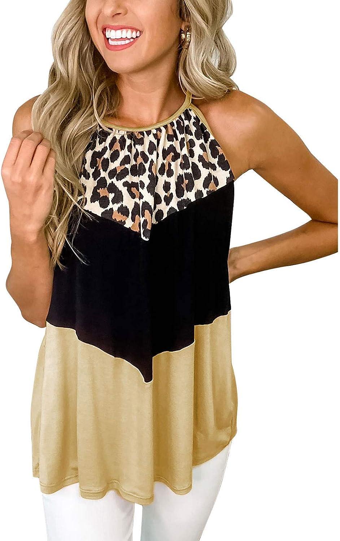 Macr&Steve Women Long Flowy Scoop Neck Halter Sleeveless Summer Color Block Camisole Tunic Tank Top