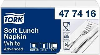 Tork 477416 Soft Lunchservetten wit 1/8 gevouwen / 3-laags, voorgevouwen servetten voor kleine gerechten en snacks/Advance...