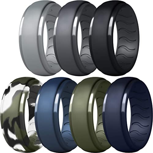 Dookeh Breathable Mens Silicone Wedding Rings Best for Workout Rubber Ring Bands For Men Black Blue Camo Engagement Band 1-4-7 Pack