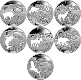 2020 BB Commemorative Set PowerCoin SHAPES OF AMERICA Cutout Set 8x1 Oz Silver Coin 5$ Barbados 2020 Proof