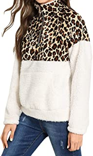 Women's Long Sleeve Sweatshirt Half Zip Up Warm Fuzzy Leopard Print Patchwork Fleece Pullover Tops with Pocket for Winter