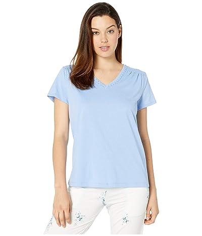 Karen Neuburger Sunday In Sorrento Short Sleeve Pullover Top (Solid/Vista Blue) Women
